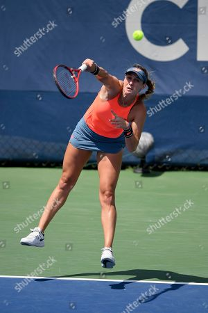 Kevin Anderson, Alexander Zverev. Maria Sanchez returns the ball as she and Fanny Stollar, of Hungary, played a doubles match in the Citi Open tennis tournament against Yafan Wang and Zhaoxuan Yang, both of China, in the Citi Open tennis tournament, in Washington