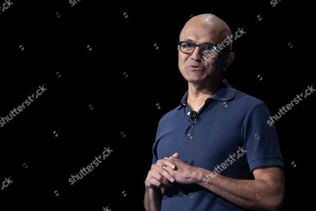 Microsoft CEO Satya Nadella speaks during an event to launch the Samsung Galaxy Note 10, in New York. (AP Photo/Mary Altaffer), in New York