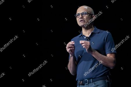 Microsoft CEO Satya Nadella speaks during an event to launch the Samsung Galaxy Note 10, in New York