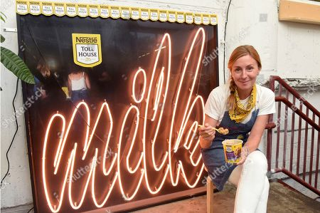 "Stock Photo of Milk Bar owner Christina Tosi enjoys NESTLÉ TOLL HOUSE's new creation, Edible Cookie Dough, during the ""Dough You Believe in Magic"" sweet happy hour in Williamsburg, Brooklyn"