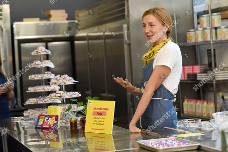 Stock Picture of Christina Tosi shows guests how to create their ultimate dessert board, using new products from NESTLÉ TOLL HOUSE, Edible Cookie Dough and Unicorn Morsels, in New York