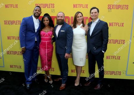 "Marlon Wayans, Bresha Webb, Michael Tiddes, Molly Shannon, Michael Ian Black. Marlon Wayans, from left, Bresha Webb, Michael Tiddes, Molly Shannon and Michael Ian Black attend the LA Premiere of ""Sextuplets"" at the Arclight Hollywood, in Los Angeles"