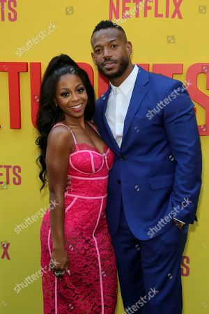 "Bresha Webb, Marlon Wayans. Bresha Webb, left, and Marlon Wayans attend the LA Premiere of ""Sextuplets"" at the Arclight Hollywood, in Los Angeles"