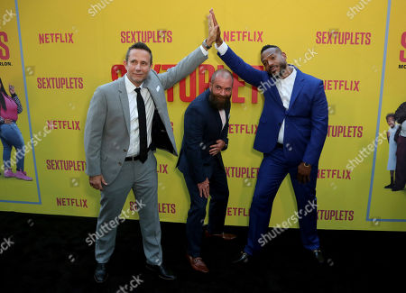 """Rick Alvarez, Michael Tiddes, Marlon Wayans. Rick Alvarez, from left, Michael Tiddes and Marlon Wayans attend the LA Premiere of """"Sextuplets"""" at the Arclight Hollywood, in Los Angeles"""