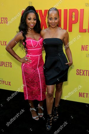 "Bresha Webb, Essence Atkins. Bresha Webb, left, and Essence Atkins attend the LA Premiere of ""Sextuplets"" at the Arclight Hollywood, in Los Angeles"