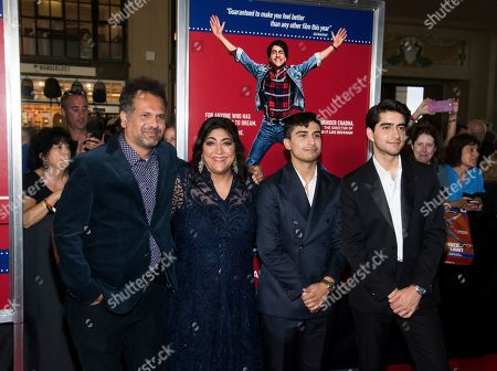 """Sarfraz Manzoor, Gurinder Chadha, Aaron Phagura and Viveik Kaira. Sarfraz Manzoor, left, Gurinder Chadha, Aaron Phagura and Viveik Kaira attend the premiere of """"Blinded by the Light"""" at the Paramount Theater, in Asbury Park, NJ"""