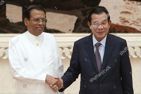 Maithripala Sirisena, Hun Sen. Sri Lankan President Maithripala Sirisena, left, poses with Cambodian Prime Minister Hun Sen for a photo during a meeting at Peace Palace in Phnom Penh, Cambodia, . Sirisena is on a four-day state visit to strengthen a bond of friendship between the two Asian nations