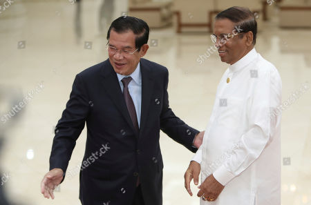 Maithripala Sirisena, Hun Sen. Sri Lankan President Maithripala Sirisena, right, is shown the way by Cambodian Prime Minister Hun Sen during a meeting at Peace Palace in Phnom Penh, Cambodia, . Sirisena is on a four-day state visit to strengthen a bond of friendship between the two Asian nations