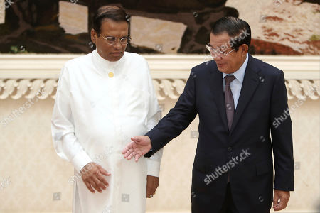 Maithripala Sirisena, Hun Sen. Sri Lankan President Maithripala Sirisena, left, and Cambodian Prime Minister Hun Sen prepare to shake hands during a meeting at Peace Palace in Phnom Penh, Cambodia, . Sirisena is on a four-day state visit to strengthen a bond of friendship between the two Asian nations