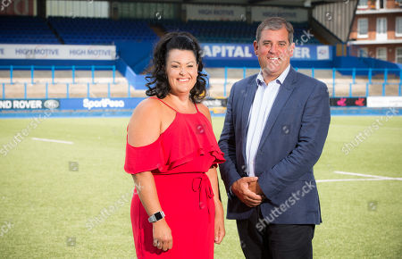 Hayley Parsons with Cardiff Blues Chief Executive Richard Holland