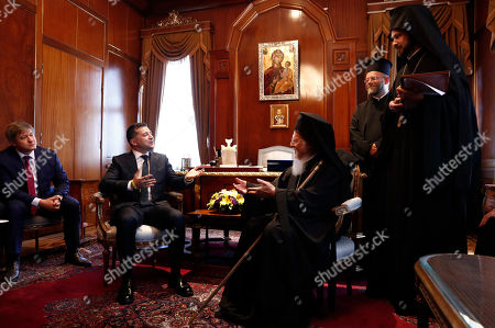 Ukraine's President Volodymyr Zelensky (2-L) meets with Ecumenical Patriarch Bartholomew I (3-R), spiritual leader of Greek Orthodox at St George Church in Istanbul, Turkey, 08 August 2019. Zelensky began on 07 August a two-day visit to Turkey.