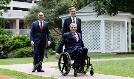Greg Abbott, Dan Patrick, Dennis Bonnen. Governor Greg Abbott, right, Lt. Governor Dan Patrick, center, and Speaker of the House Dennis Bonnen, left, arrive for a joint press conference to discuss teacher pay and school finance at the Texas Governor's Mansion in Austin, Texas, in Austin