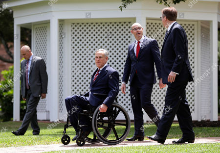 Greg Abbott, Dan Patrick, Dennis Bonnen. Governor Greg Abbott, front left, Lt. Governor Dan Patrick, right, and Speaker of the House Dennis Bonnen, penter, arrive for a joint press conference to discuss teacher pay and school finance at the Texas Governor's Mansion in Austin, Texas, in Austin