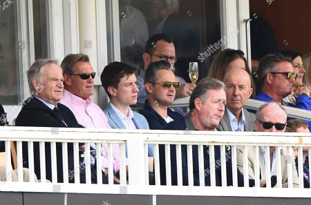 Jeffrey Archer, Glenn Hoddle and Piers Morgan look on