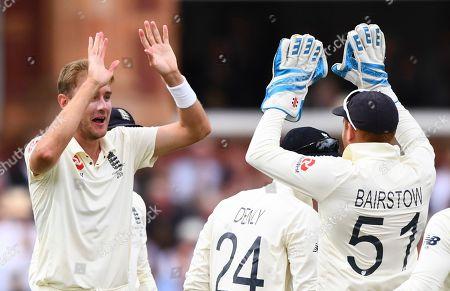 England's Stuart Broad celebrates the wicket of Matthew Wade of Australia for 6