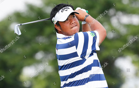 Kiradech Aphibarnrat of Thailand tees off on the 4th hole during the first round of the Northern Trust golf tournament at the Liberty National Golf Club in Jersey City, New Jersey, USA, 08 August 2019. The tournament, which is the first event of the PGA Tour?s FedEx Cup Playoffs, will be held from 08 August to 11 August.