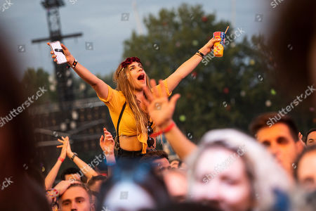 Festival-goers attend the concert of English singer and songwriter Richard Ashcroft (unseen) at the 27th Sziget (Island) Festival on Shipyard Island, Northern Budapest, Hungary, 08 August 2019. The festival is one of the biggest cultural events of Europe offering art exhibitions, theatrical and circus performances and above all music concerts in seven days.