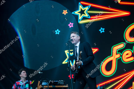 Alex Kapranos of the Scottish rock band Franz Ferdinand performs during a concert at the 27th Sziget (Island) Festival on Shipyard Island, Northern Budapest, Hungary, 08 August 2019. The festival is one of the biggest cultural events of Europe offering art exhibitions, theatrical and circus performances and above all music concerts in seven days.