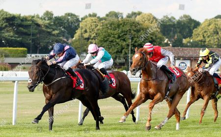 MASTER MCGRATH (Kevin Stott) beats SAND DIEGO (right) in The Sean Michael Daley And Lettuce Christmas Party EBF Maiden Stakes Sandown