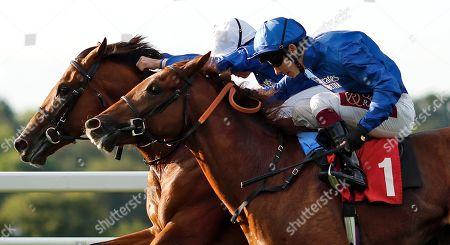 Stock Image of NATIVE TRIBE (farside, William Buick) beats DUBAI MIRAGE (nearside) in The Sean Michael Daley And Lettuce 2-4-1 Tanqueray Thursdays EBF Maiden Stakes Sandown