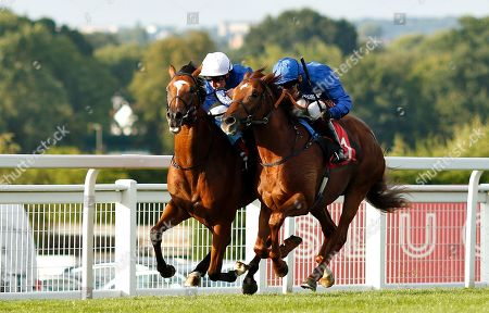 Stock Image of NATIVE TRIBE (left, William Buick) beats DUBAI MIRAGE (right) in The Sean Michael Daley And Lettuce 2-4-1 Tanqueray Thursdays EBF Maiden Stakes Sandown
