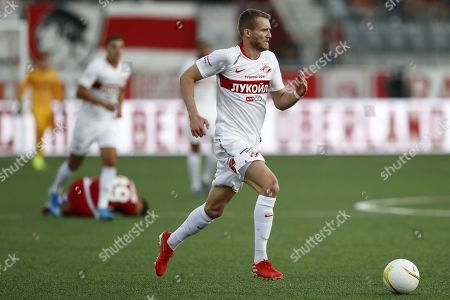 Spartak's Andre Schurrle in action during the UEFA Europa League third qualifying round, first leg, soccer match between FC Thun and Spartak Moscow at the Stockhorn Arena in Thun, Switzerland, 08 August 2019.