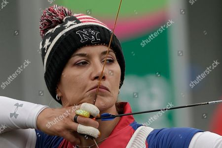 Khatuna Lorig of the United Sates competes during the archery women's recurve individual competition at the Pan American Games in Lima, Peru
