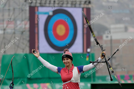 Khatuna Lorig of the United Sates celebrates after competing in the archery women's recurve individual competition at the Pan American Games in Lima, Peru