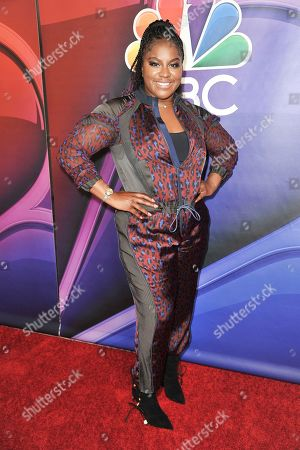 Ester Dean attends the NBC red carpet event during the Television Critics Association Summer Press Tour, in Beverly Hills, Calif