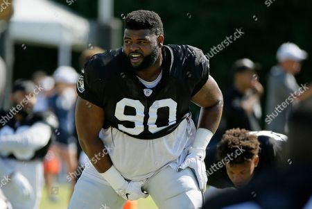 Oakland Raiders defensive tackle Johnathan Hankins during NFL football training camp, in Napa, Calif. Both the Oakland Raiders and the Los Angeles Rams held a joint practice before their upcoming preseason game on Saturday