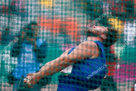 Sean Donnelly of United States competes in the men's hammer throw during the athletics at the Pan American Games in Lima, Peru, . Donnelly won the bronze medal