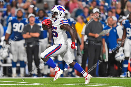 Buffalo Bills' Christian Wade runs the ball for a touchdown during the second half of an NFL preseason football game against the Indianapolis Colts, in Orchard Park, N.Y