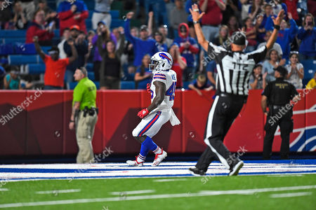 Buffalo Bills' Christian Wade reacts after scoring a touchdown during the second half of an NFL preseason football game against the Indianapolis Colts, in Orchard Park, N.Y