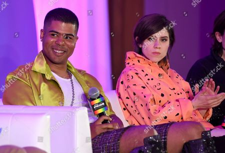"Sara Quin, Tegan Quin. ILoveMakonnen, left, and Sara Quin, of Tegan and Sara, participate in the ""Queer Headliners 2019"" panel at Billboard and THR's Pride Summit, in West Hollywood, Calif"