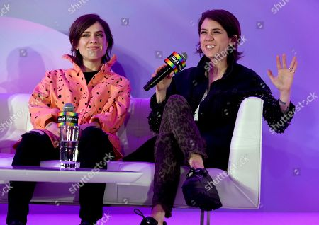 "Stock Picture of Sara Quin, Tegan Quin. Sara Quin, left, and Tegan Quin, of Tegan and Sara, participate in the ""Queer Headliners 2019"" panel at Billboard and THR's Pride Summit, in West Hollywood, Calif"
