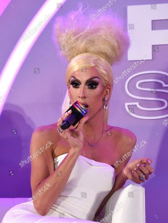 """Stock Photo of Justin Andrew Honard, whose stage name is Alaska, speaks during the """"Drag & Music: From Drag Race to the Top of the Charts"""" panel at Billboard and THR's Pride Summit, in West Hollywood, Calif"""