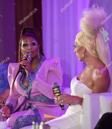 """Stock Picture of Peppermint, Justin Andrew Honard. Peppermint, left, and Justin Andrew Honard, whose stage name is Alaska, speaks during the """"Drag & Music: From Drag Race to the Top of the Charts"""" panel at Billboard and THR's Pride Summit, in West Hollywood, Calif"""
