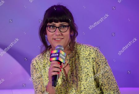 "Teddy Geiger speaks during the ""They/Them Write The Songs"" panel at Billboard and THR's Pride Summit, in West Hollywood, Calif"