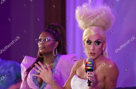 """Peppermint, Justin Andrew Honard. Peppermint, left, and Justin Andrew Honard, whose stage name is Alaska, speaks during the """"Drag & Music: From Drag Race to the Top of the Charts"""" panel at Billboard and THR's Pride Summit, in West Hollywood, Calif"""