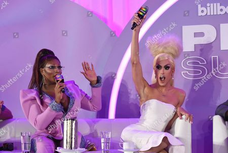 """Stock Image of Peppermint, Justin Andrew Honard. Peppermint, left, and Justin Andrew Honard, whose stage name is Alaska, speaks during the """"Drag & Music: From Drag Race to the Top of the Charts"""" panel at Billboard and THR's Pride Summit, in West Hollywood, Calif"""