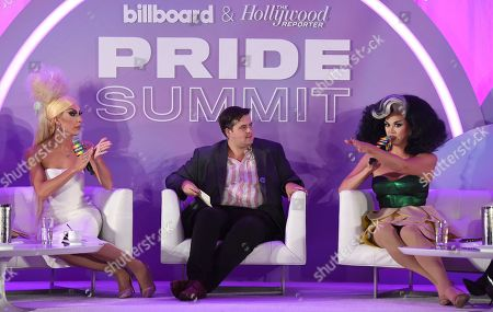 """Justin Andrew Honard, Stephan Daw, Manila Luzon. Justin Andrew Honard, whose stage name is Alaska, from left, Billboard's Stephan Daw and Manila Luzon speak during the """"Drag & Music: From Drag Race to the Top of the Charts"""" panel at Billboard and THR's Pride Summit, in West Hollywood, Calif"""