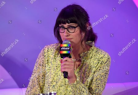 "Stock Image of Teddy Geiger speaks during the ""They/Them Write The Songs"" panel at Billboard and THR's Pride Summit, in West Hollywood, Calif"