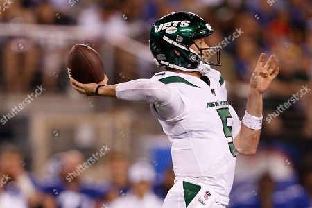 New York Jets quarterback Davis Webb (5) throws a pass during the second half of a preseason NFL football game against the New York Giants, in East Rutherford, N.J