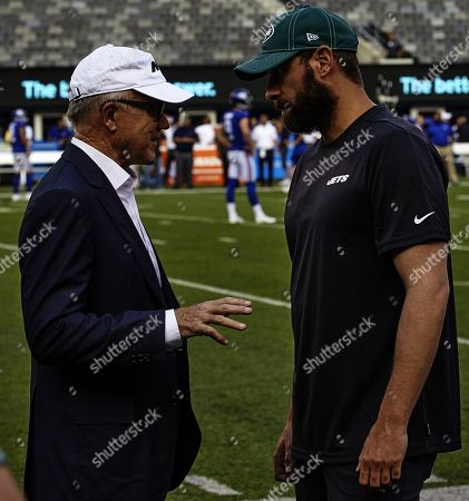 , 2019, East Rutherford, New Jersey, USA: New York Jets head coach Adam Gase and owner Woody Johnson talk prior to a preseason game between the New York Jets and the New York Giants at MetLife Stadium in East Rutherford, New Jersey