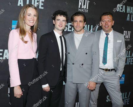Carrie Cracknell, director, Tom Sturridge, Jake Gyllenhaal and Simon Stephens, playwright