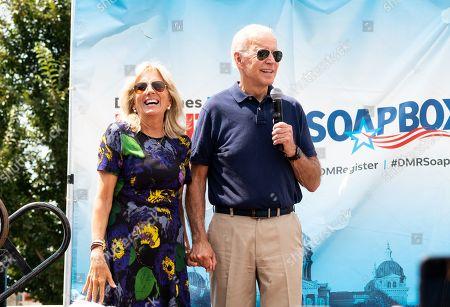 Stock Photo of Jill Biden and Joe Biden at the Soapbox at the Iowa State Fair