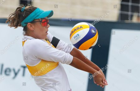 Spain's Amaranta Fernandez plays the ball during the Beach Volleyball European Championship round of 24 match between Germany's Laura Ludwig and Margareta Kozuch and Spain's Angela Lobato and Amaranta Fernandez in Moscow, Russia