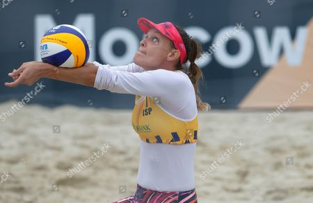 Spain's Angela Lobato plays the ball during the Beach Volleyball European Championship round of 24 match between Germany's Laura Ludwig and Margareta Kozuch and Spain's Angela Lobato and Amaranta Fernandez in Moscow, Russia