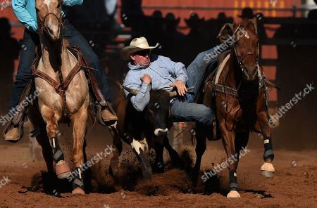 Jamie Reynolds is seen during the Steer Wrestling event at the Mount Isa Mines Rotary Rodeo in Mount Isa, Queensland, Australia, 09 August 2019. This year's event marks 60 years of non-stop rodeo action that has grown to attract nearly 40,000 total attendees to the outback mining town.