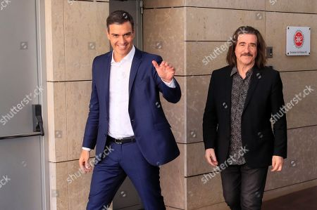 Spanish acting Prime Minister Pedro Sanchez (R) and musician Luis Cobos, president of the management entity for music performers and performer musicians (AIE), before a meeting with representatives from the culture sector in Madrid, Spain, 09 August 2019. Sanchez meets representatives of the culture sector in an attempt to achieve support to form a government, after the second vote for an investiture at Parliament failed last 25 July 2019. Spain will be holding elections on 10 November 2019 if Sanchez fails to obtain enough support for a new investiture in September.